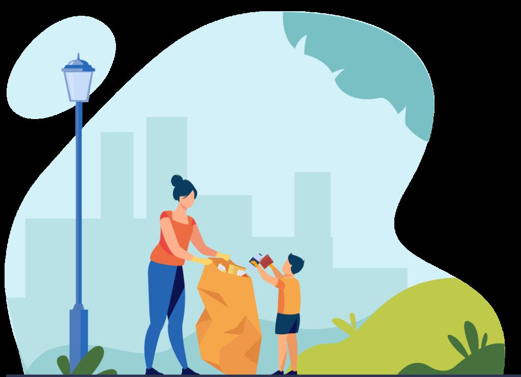 illustration enfant et sa mère ramassant des déchets en ville