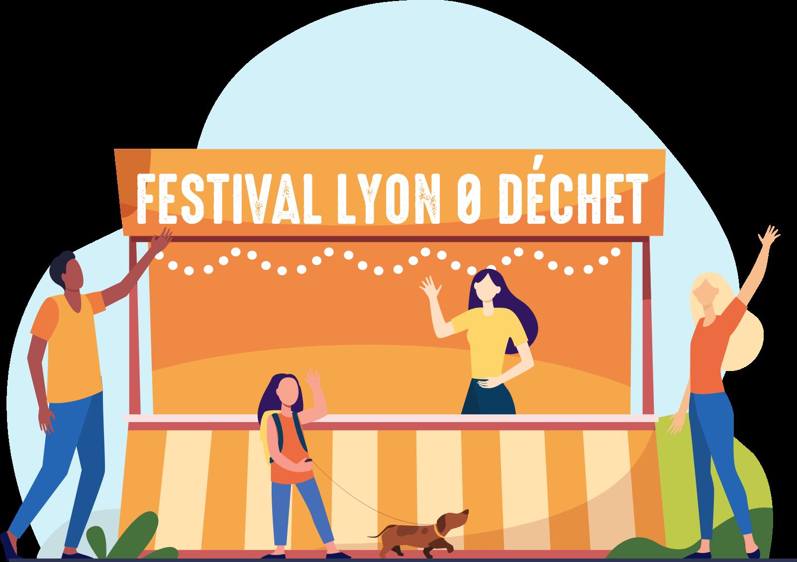 Illustraton : Stand du Festival avec des bénévoles nous saluant